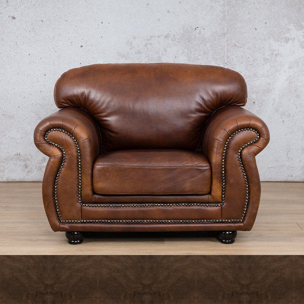 Isilo Leather Couch | 1 Seater Couch | Couches for Sale | Buffed Brown | Leather Gallery Couches