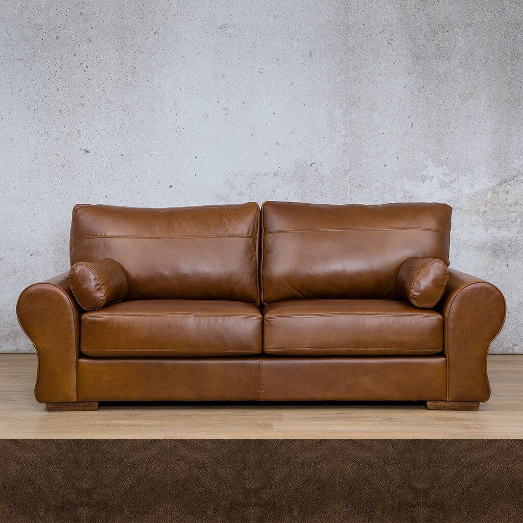 Carolina Leather Couch | 3 Seater Couch | Couches for Sale | Buffed Brown | Leather Gallery Couches