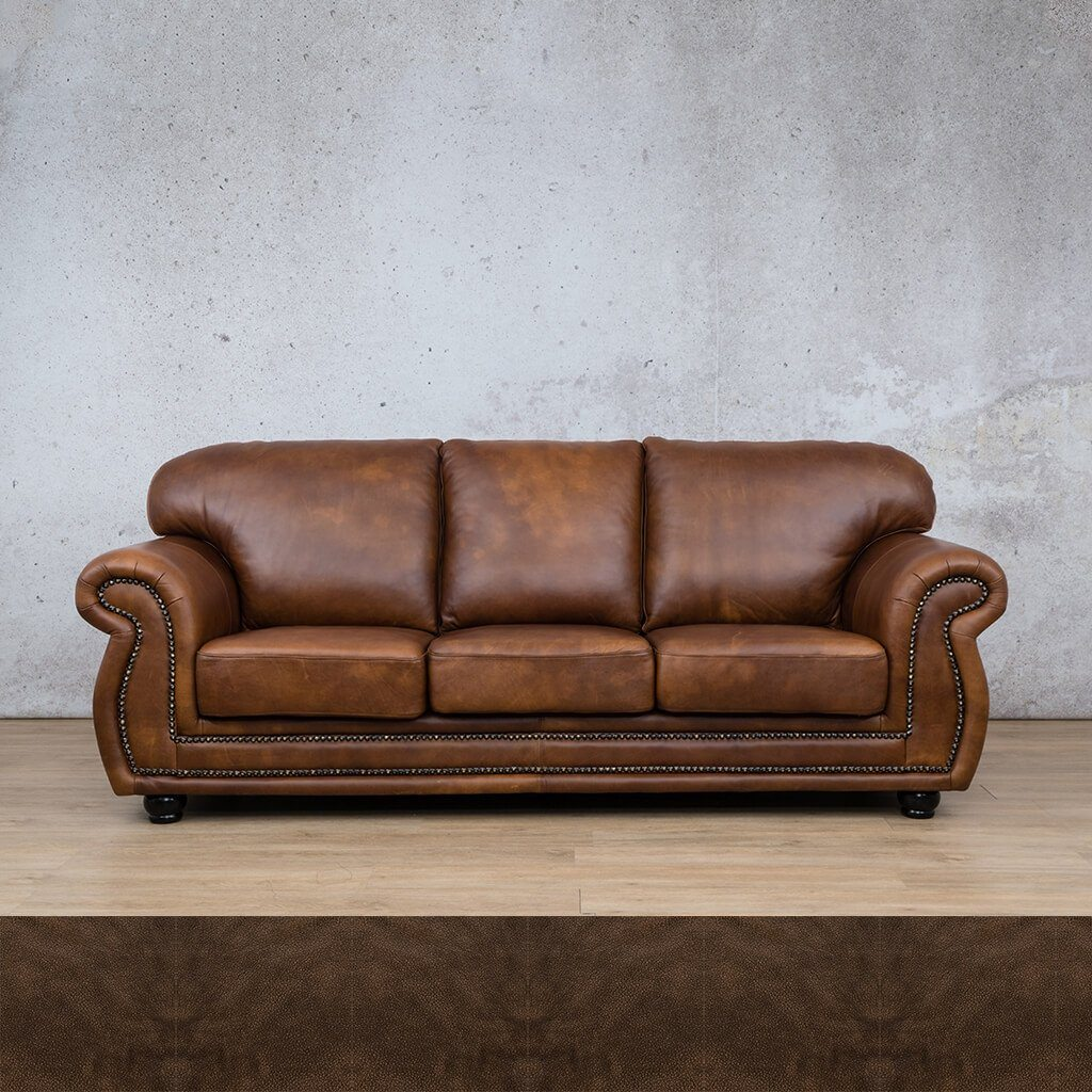 Isilo Leather Couch | 3 Seater Couch | Couches for Sale | Buffed Brown | Leather Gallery Couches