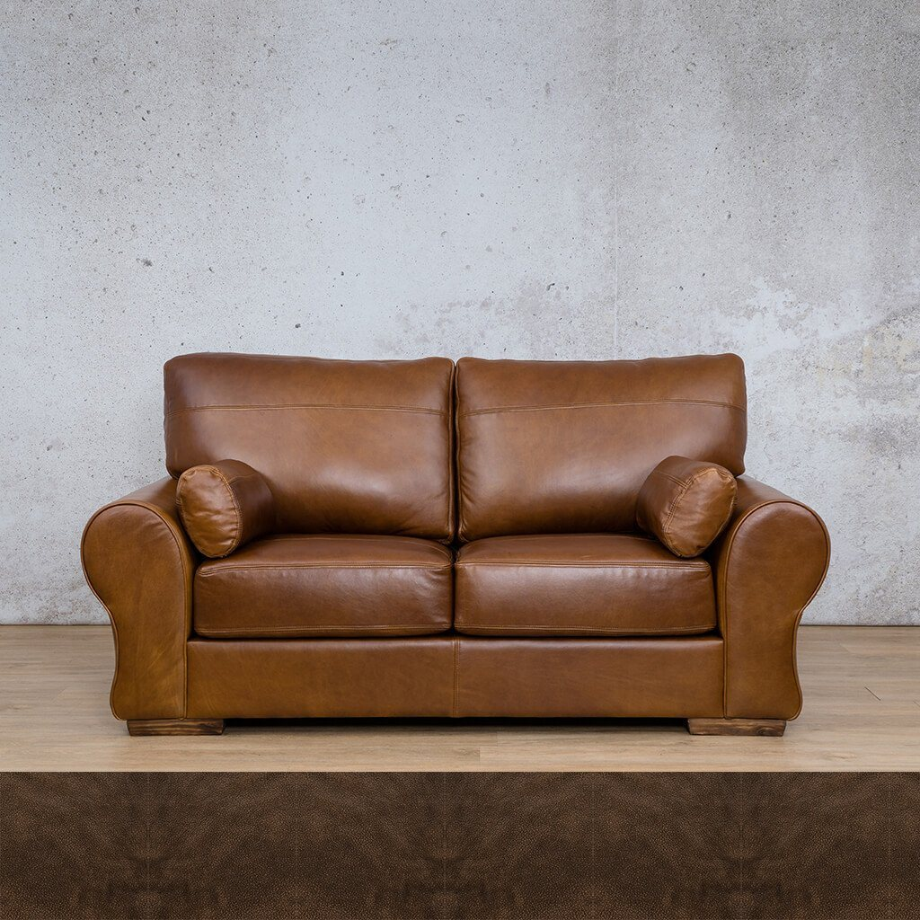 Carolina Leather Couch | 2 Seater Couch | Couches for Sale | Buffed Brown | Leather Gallery Couches