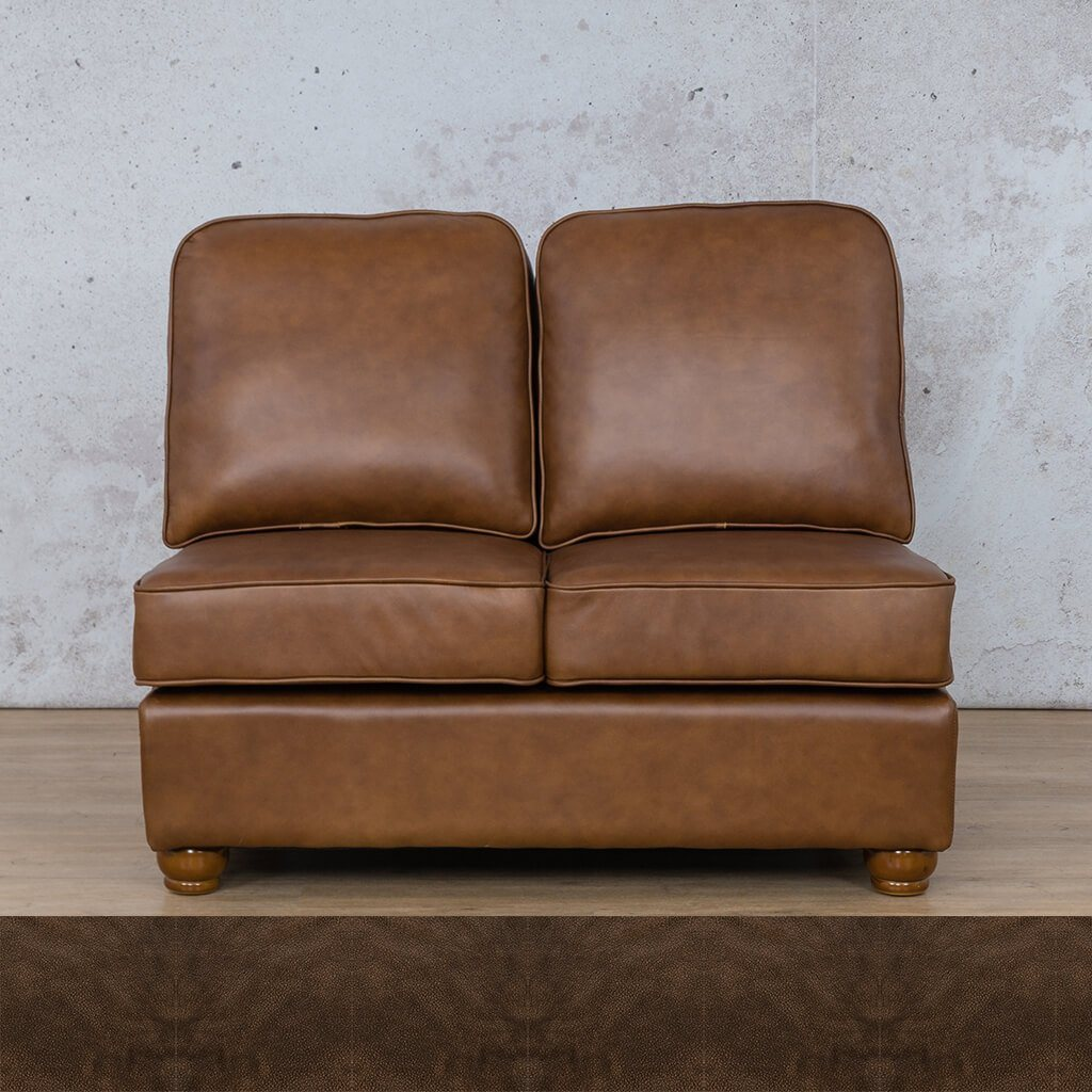 Salisbury Leather Corner Couch | Armless 2 Seater | Buffed Brown | Couches For Sale | Leather Gallery Couches