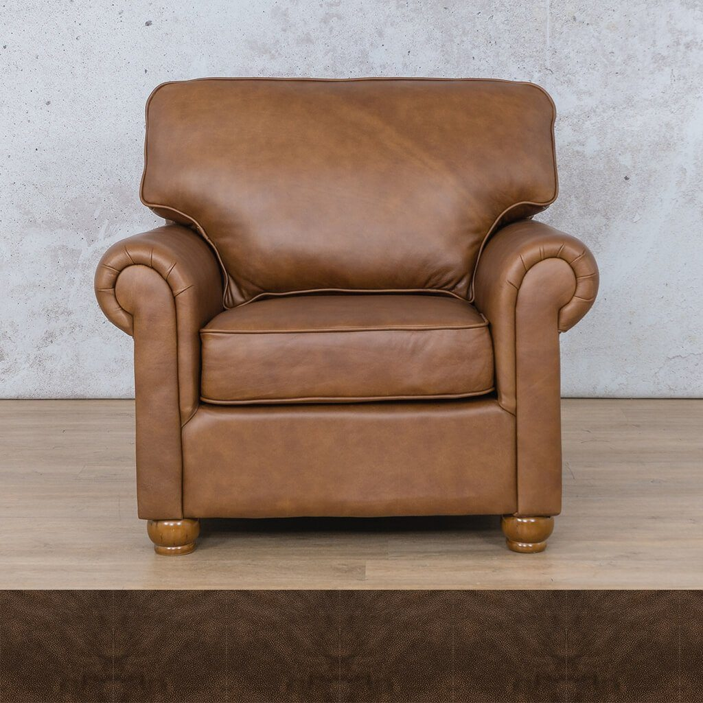 Salisbury Leather Couch | 1 seater couch | Buffed Brown | Couches for Sale | Leather Gallery Couches