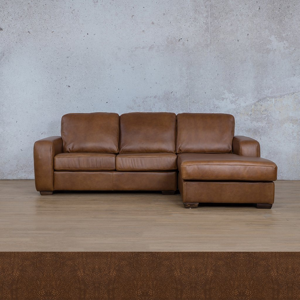 Starnford Leather Corner Couch | Sofa Chaise-RHF | Zambezi Brown-S | Couches For Sale | Leather Gallery Couches