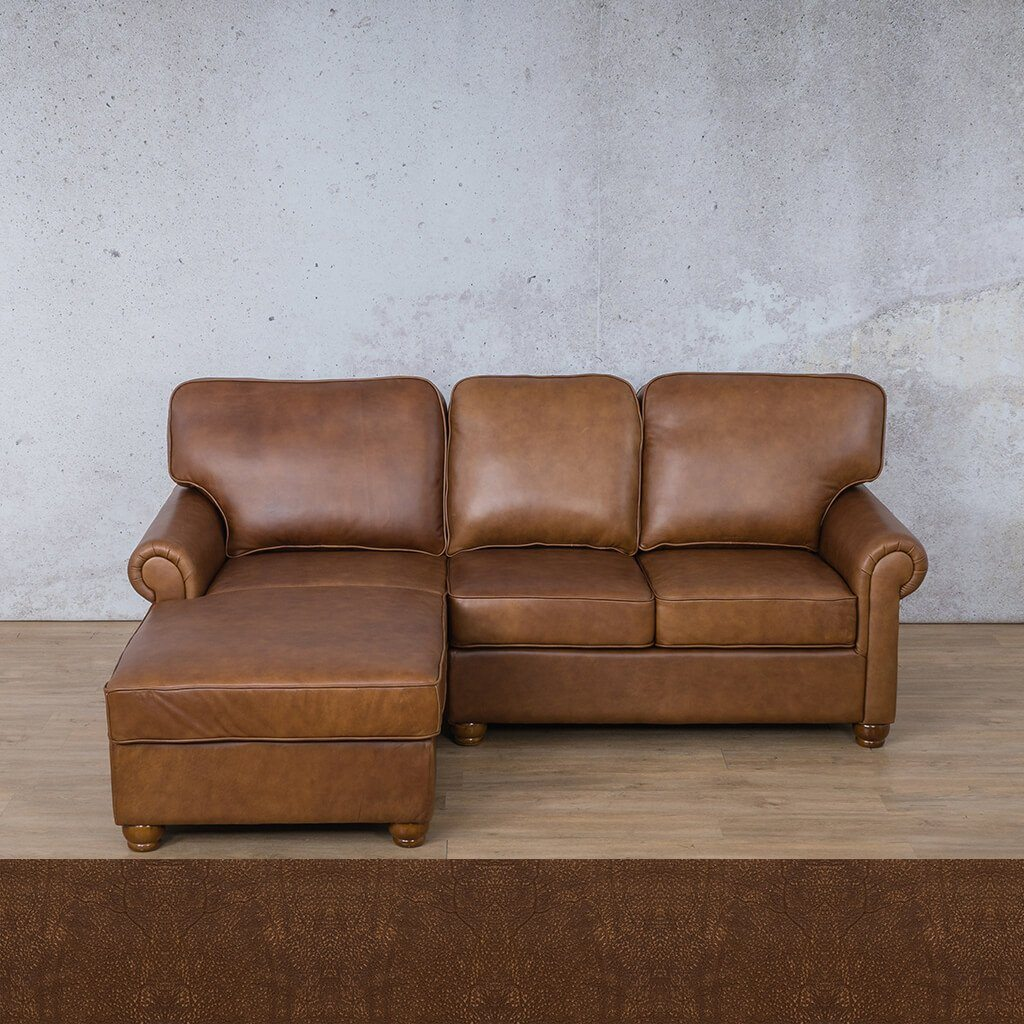Salisbury Leather Corner Couch | Chaise Sectional-LHF | Buffed Fudge | Couches For Sale | Leather Gallery Couches