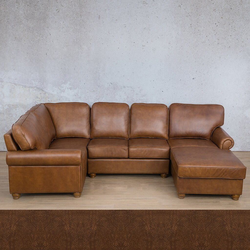Salisbury Leather Corner Couch | U-Sofa Chaise Sectional RHF | Buffed Fudge | Couches For Sale | Leather Gallery Couches