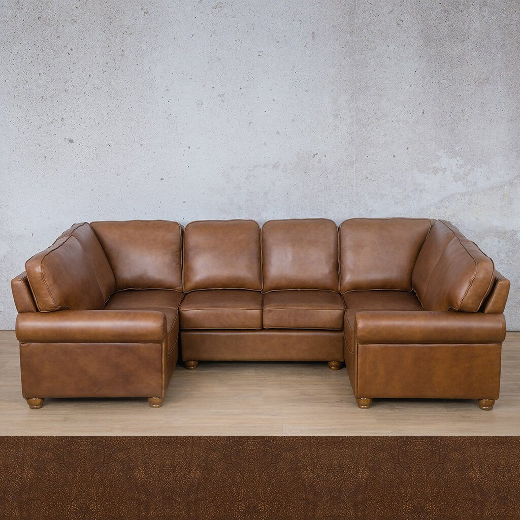 Salisbury Leather Corner Couch | U-Sofa Sectional | Buffed Fudge | Couches For Sale | Leather Gallery Couches