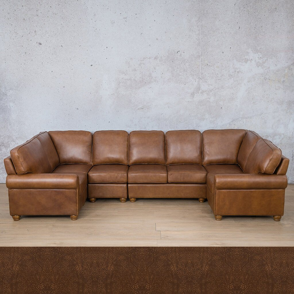 Salisbury Leather Corner Couch | Modular U-Sofa Sectional | Buffed Fugde | Couches For Sale | Leather Gallery Couches