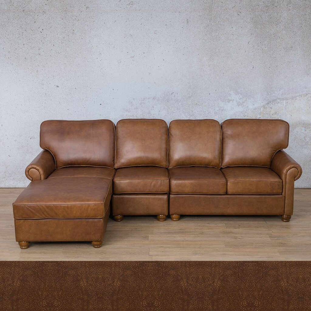 Salisbury Leather Corner Couch | Chaise Modular Sectional-LHF | Buffed Fudge | Couches For Sale | Leather Gallery Couches