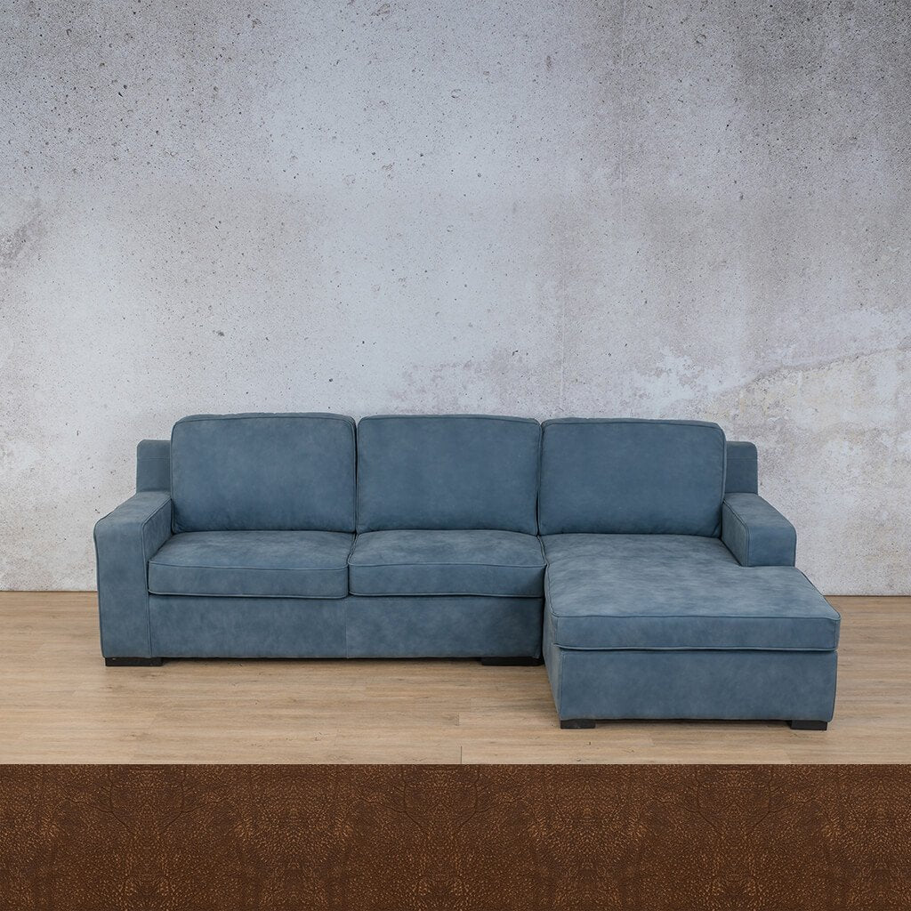 Arizona Leather Sofa Chaise Sectional - RHF