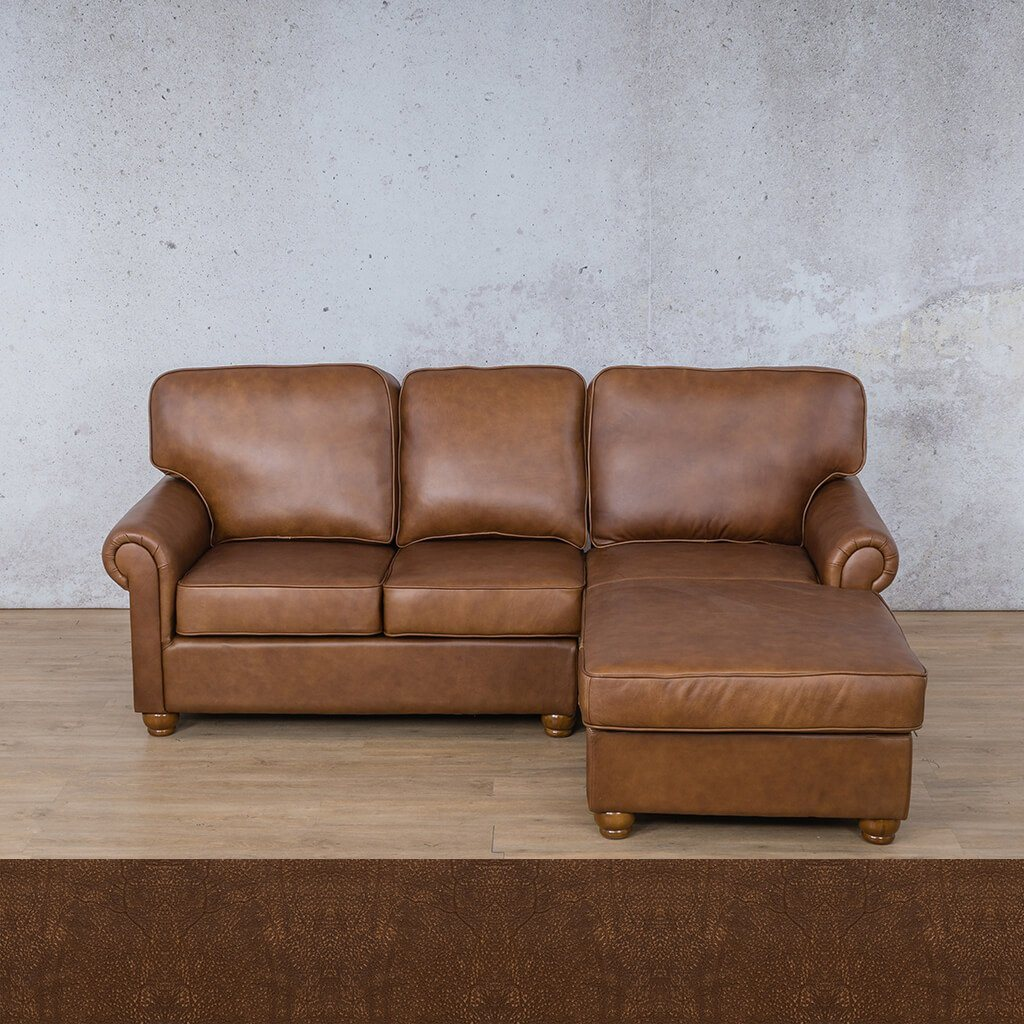 Salisbury Leather Corner Couch | Chaise Sectional-RHF | Buffed Fudge | Couches For Sale | Leather Gallery Couches
