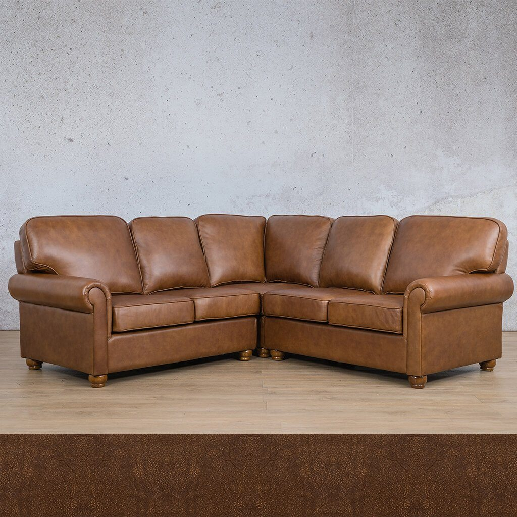Salisbury Leather Corner Couch | L-Sectional 5 Seater | Buffed Fudge | Couches For Sale | Leather Gallery Couches