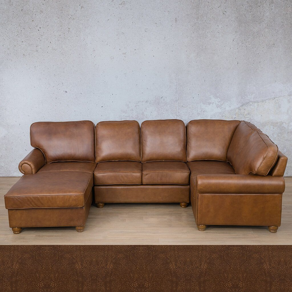 Salisbury Leather Corner Couch | U-Sofa Chaise Sectional LHF | Buffed Fudge | Couches For Sale | Leather Gallery Couches