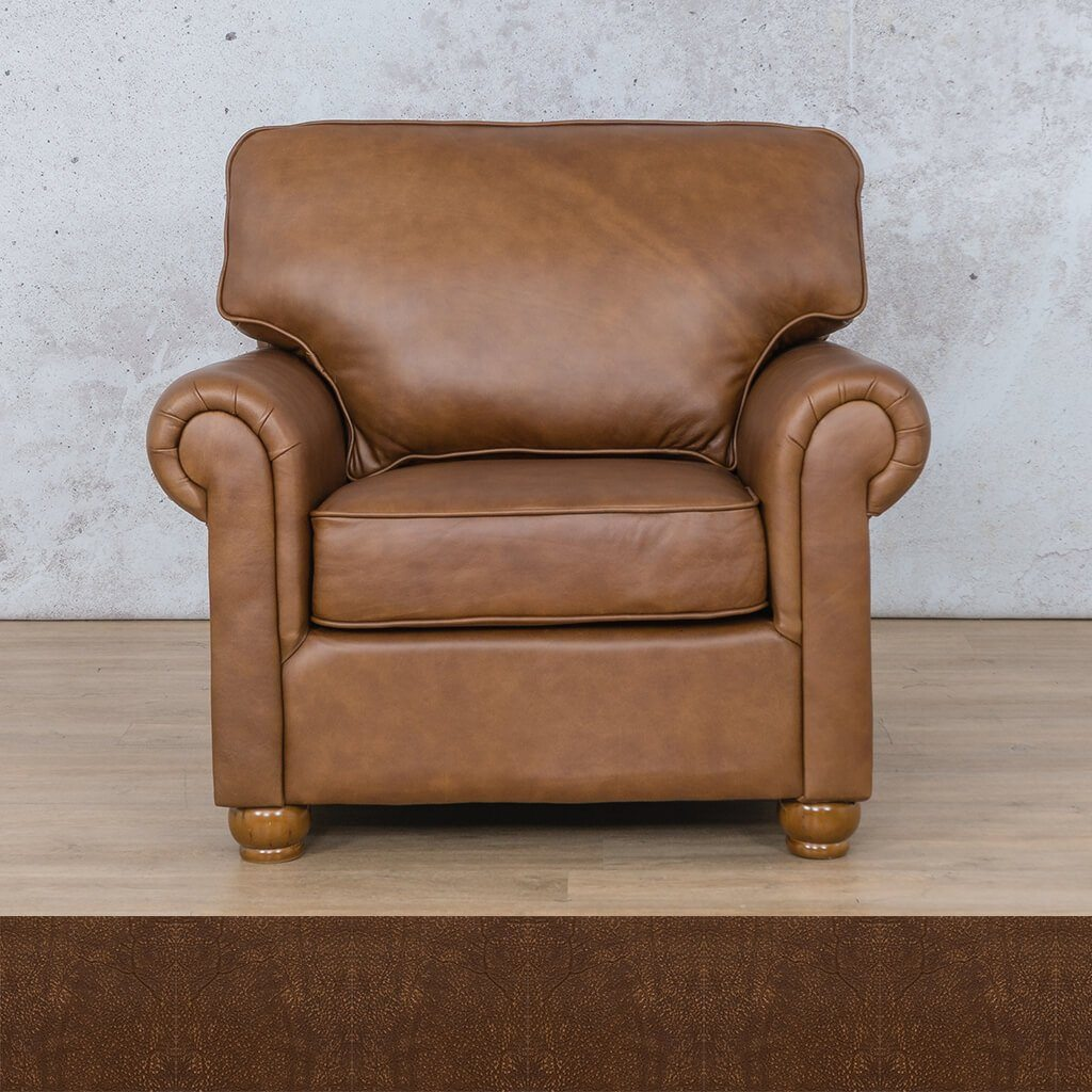 Salisbury Leather Couch | 1 seater couch | Buffed Fudge | Couches for Sale | Leather Gallery Couches
