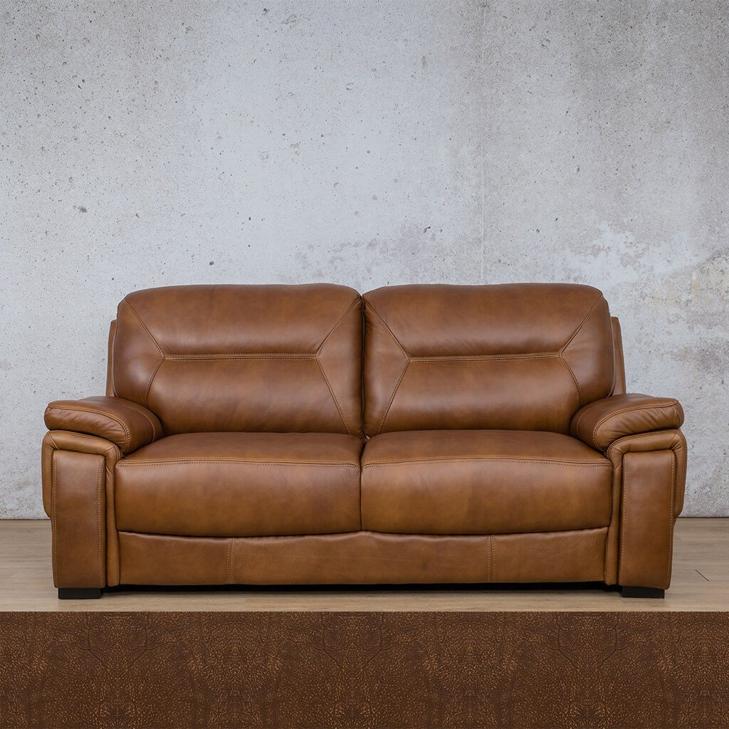San Lorenze Leather Couch | 3 Seater Couch | Couches for Sale | Czar Pecan-S | Buffed Fudge | Leather Gallery Couches