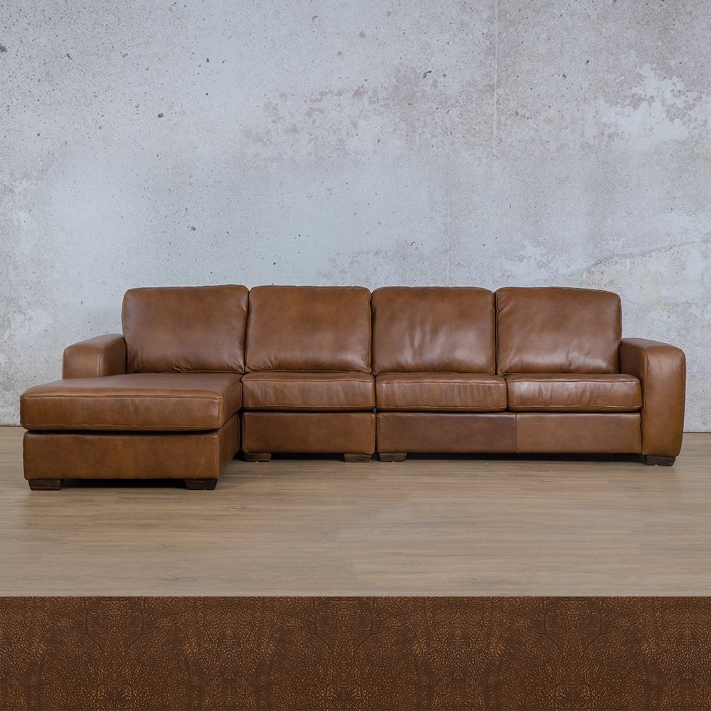 Starnford Leather Corner Couch | Modular Sofa Chaise-LHF | Zambezi Brown-S | Couches For Sale | Leather Gallery Couches