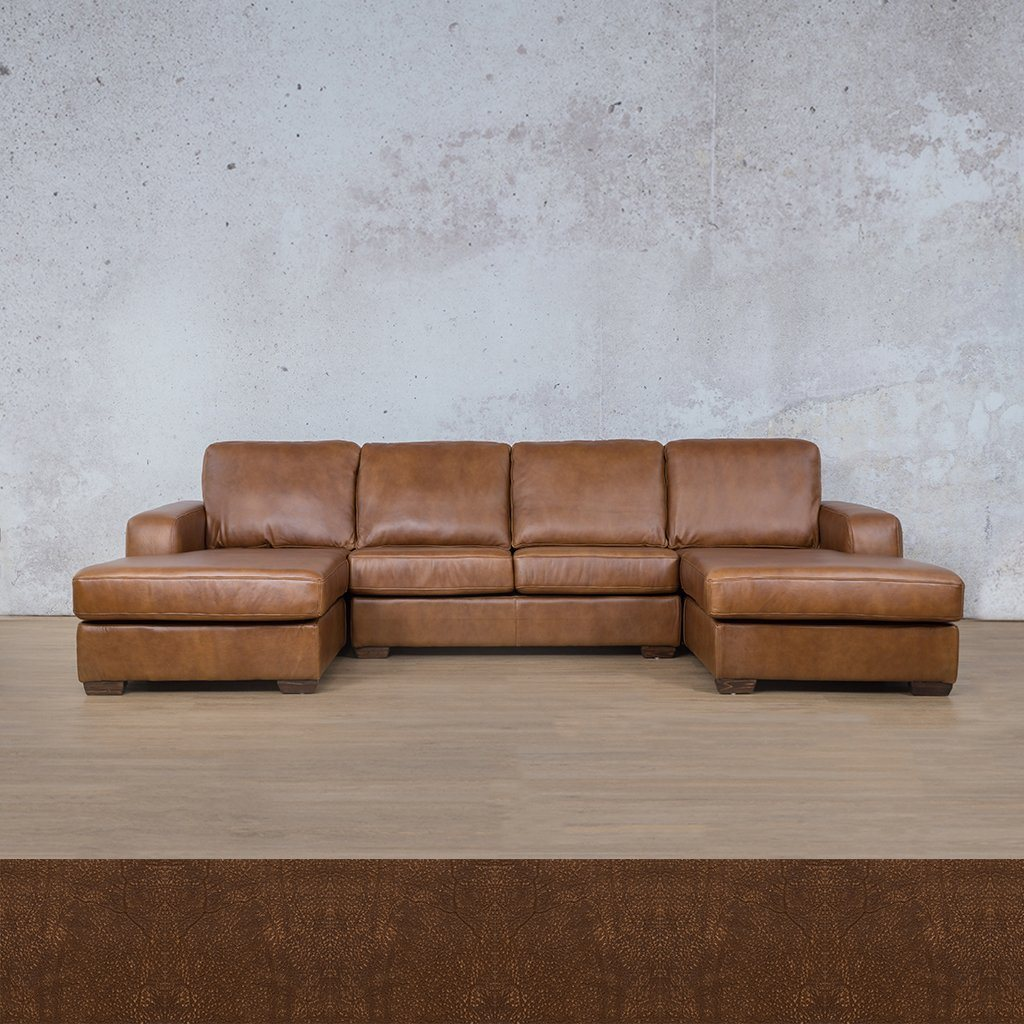 Starnford Leather Corner Couch | U-Chase Couch | Zambezi Brown-S | Couches For Sale | Leather Gallery Couches