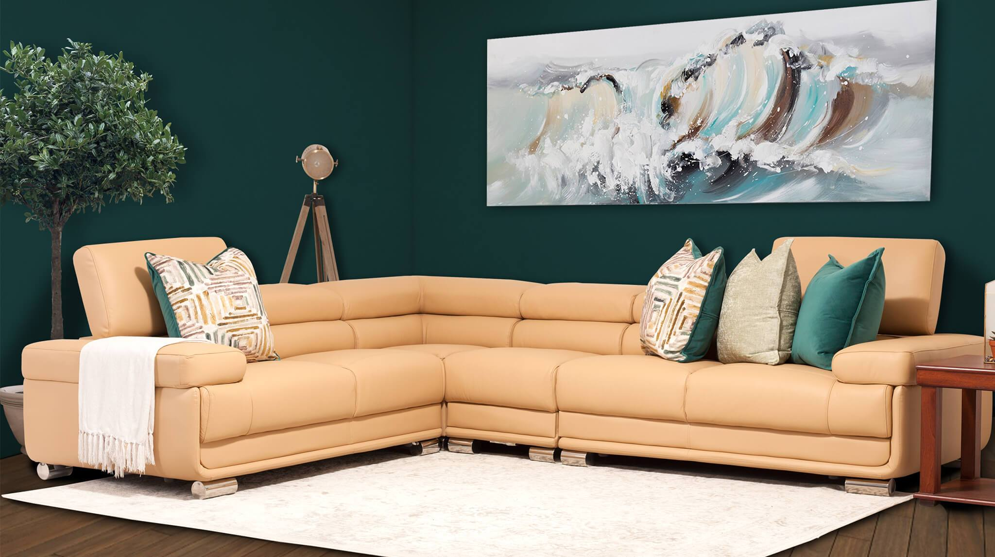 San Miguel Leather Corner Couch | Sectional | Buttercup-SM | Couches For Sale | Leather Gallery Couches