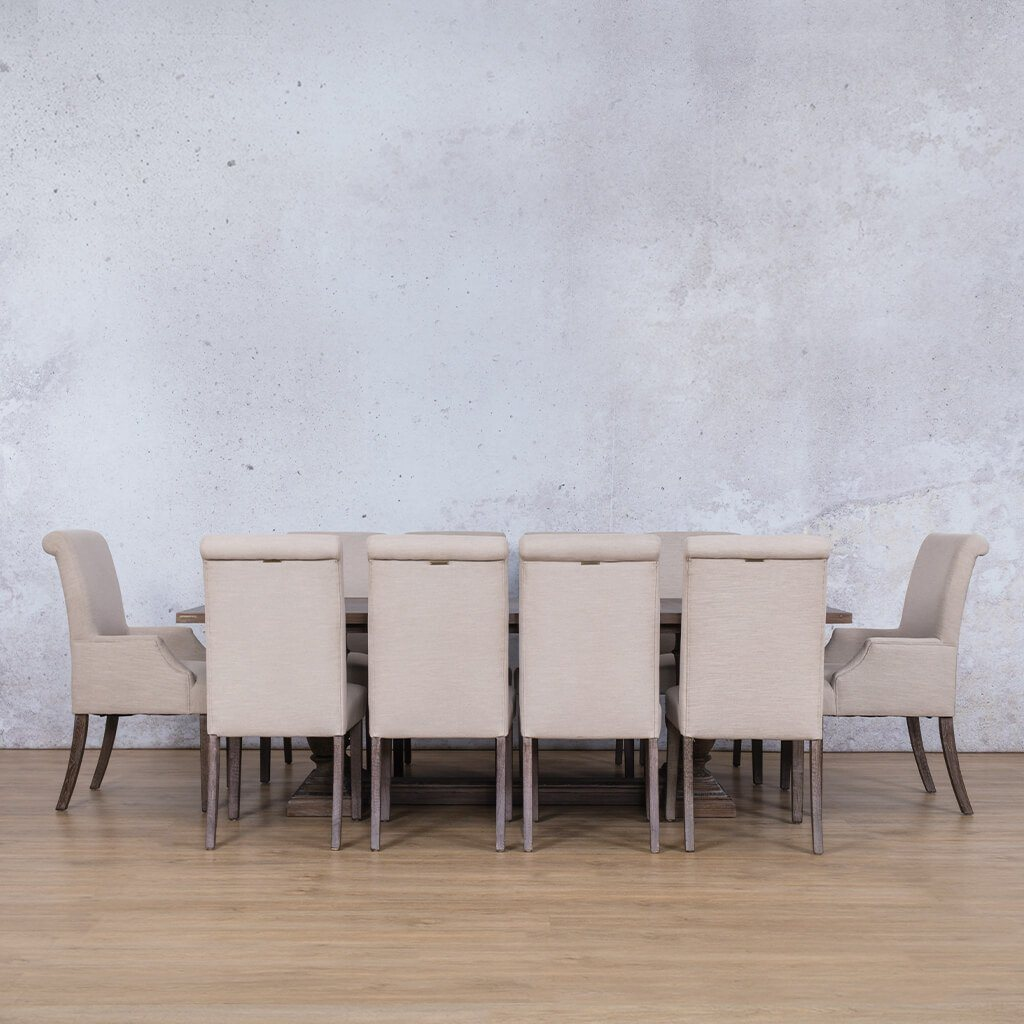 Charlotte Wood Top & Baron | 10 Seater | Dining Set | Leather Gallery