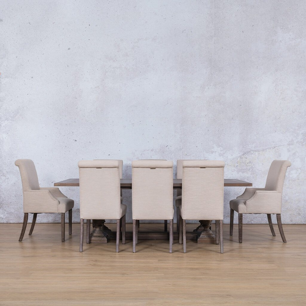 Charlotte Wood Top & Baron | 8 Seater | Dining Set | Leather Gallery