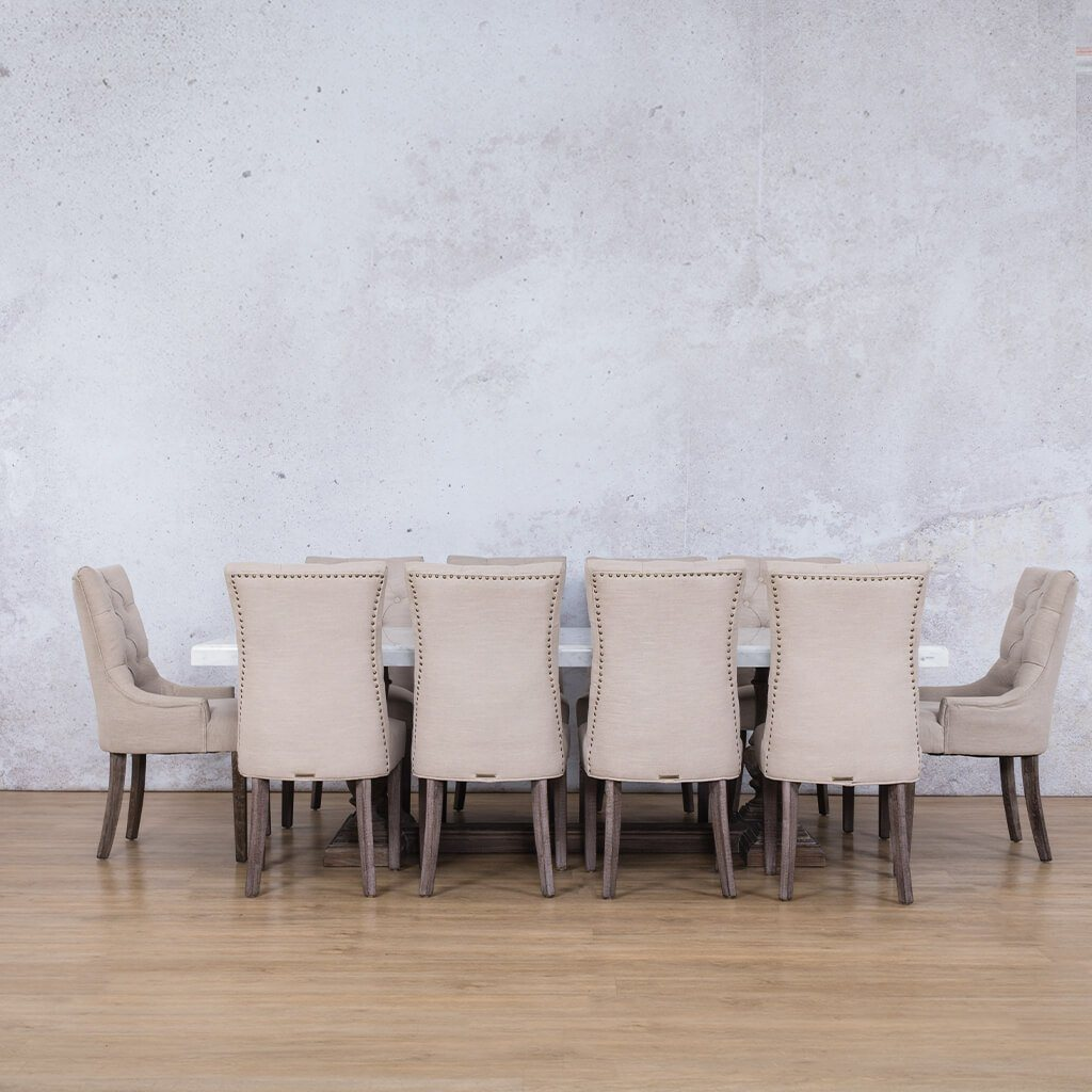 Charlotte Marble Top & Duchess 10 Seater Dining Set