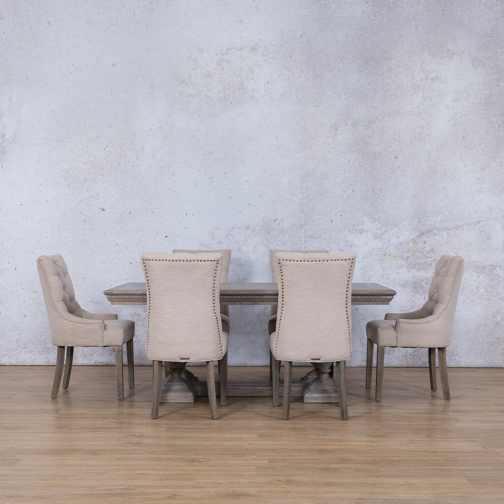 Charlotte Fluted Wood Top & Duchess | 6 Seater | Dining Set | Leather Gallery