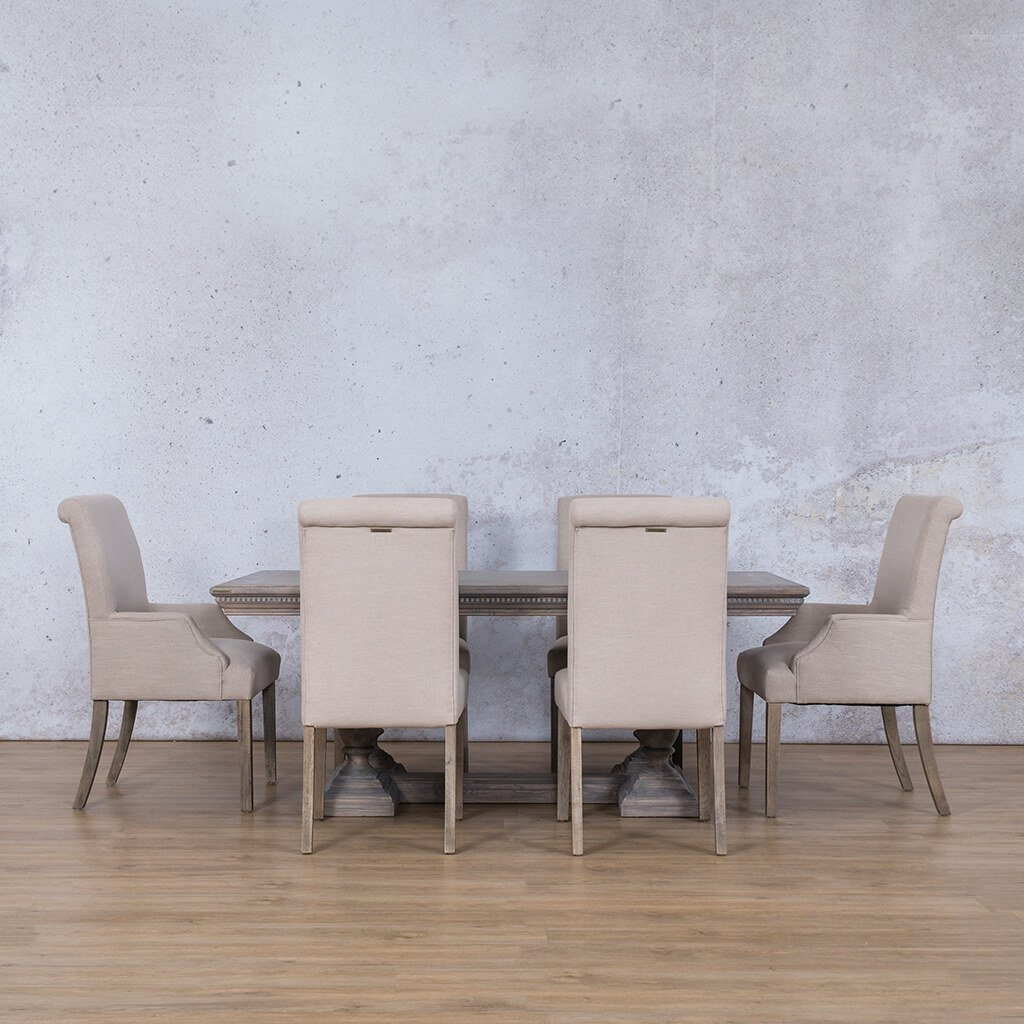 Charlotte Fluted Wood Top & Baron | 6 Seater | Dining Set | Leather Gallery