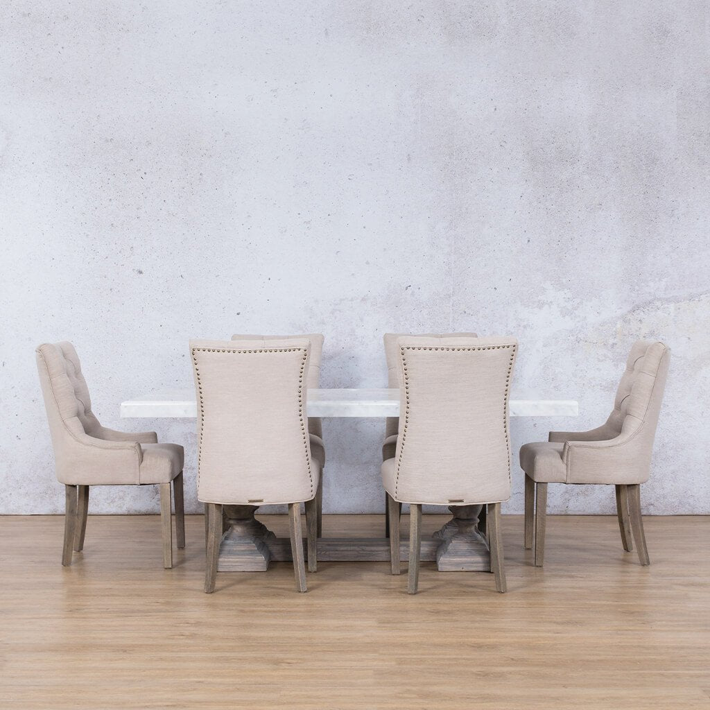 Charlotte Marble Top & Duchess | 6 Seater | Dining Set | Leather Gallery