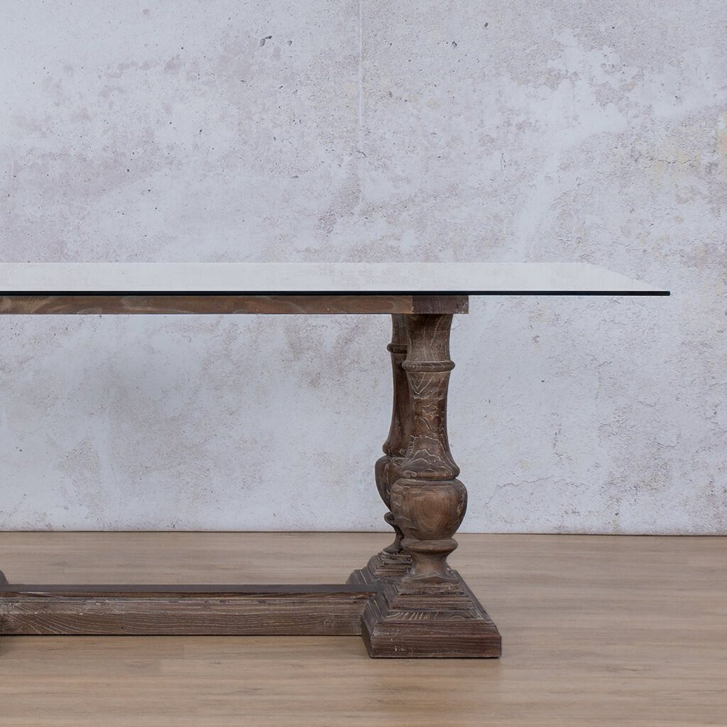 Charlotte Glass Top | 6 Seater Dining Table | Antique Coffee | Leather Gallery