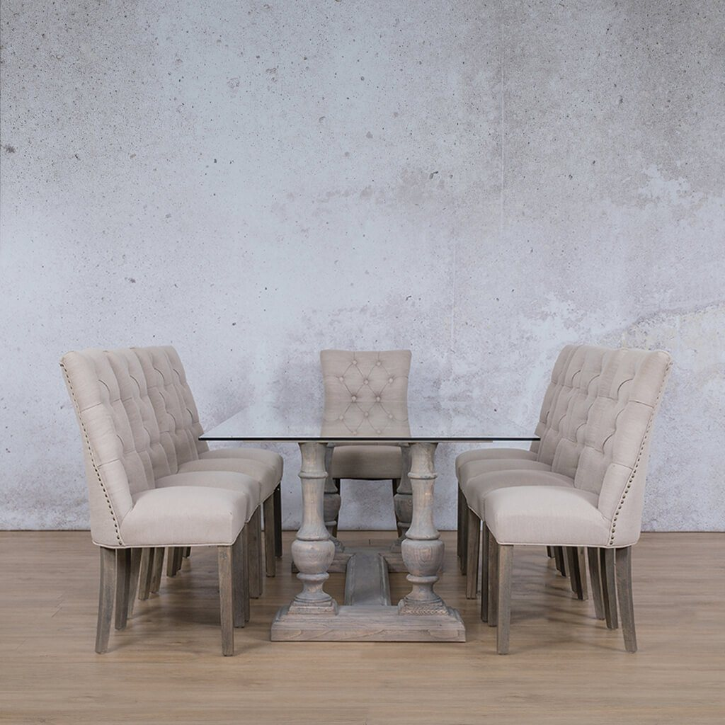 Charlotte Glass Top & Duchess 10 Seater Dining Set