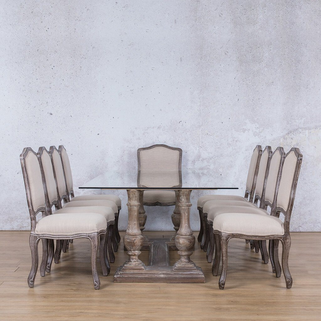 Charlotte Glass Top & Duke 10 Seater Dining Set