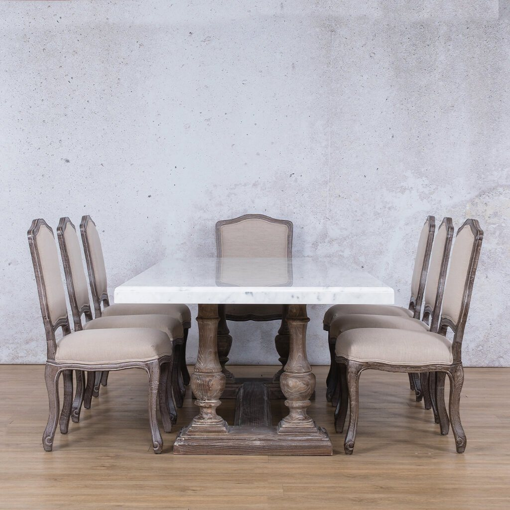 Charlotte Marble Top & Duke 8 Seater Dining Set