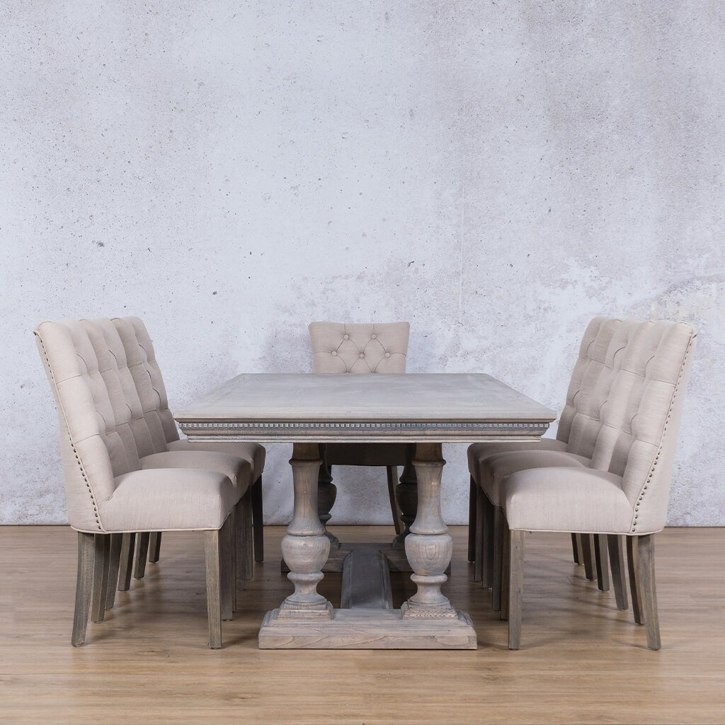 Charlotte Fluted Wood Top & Duchess 8 Seater Dining Set