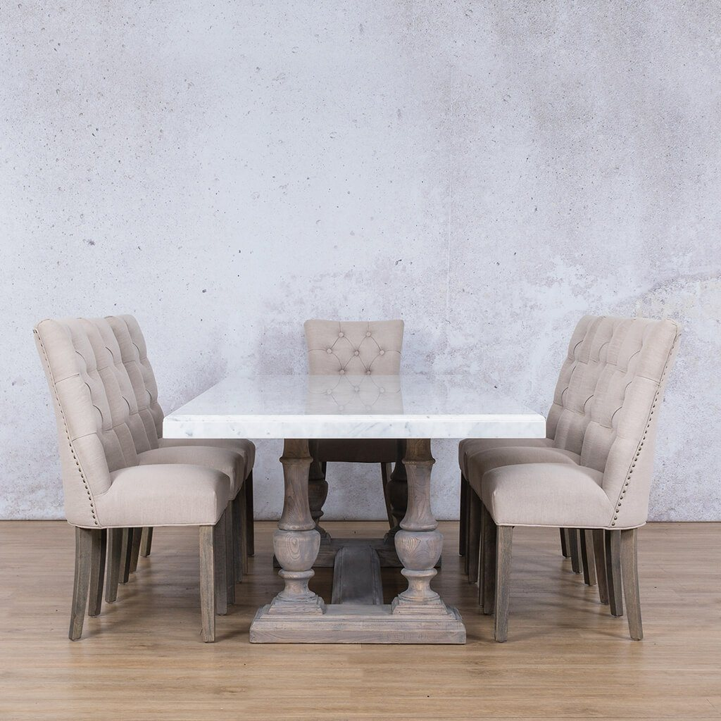 Charlotte Marble Top & Duchess 8 Seater Dining Set