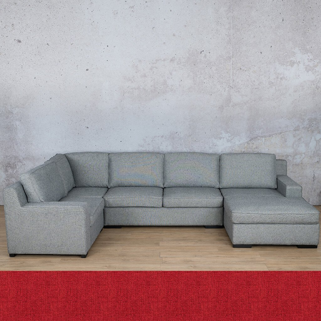 Arizona Fabric Corner Couch | U-Sofa Chaise Sectional-RHF | Delicious Cherry | Couches For Sale | Leather Gallery Couches