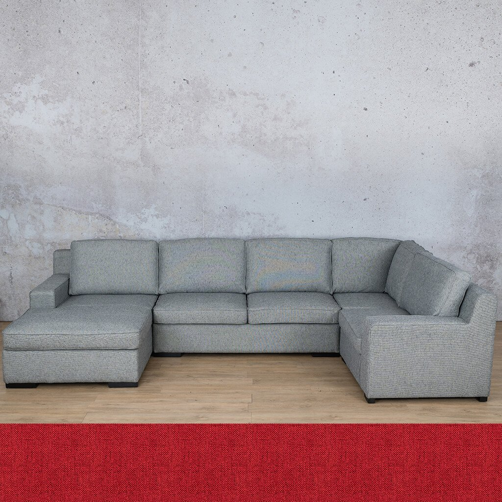 Arizona Fabric Corner Couch | U-Sofa Chaise Sectional-LHF | Delicious Cherry | Couches For Sale | Leather Gallery Couches