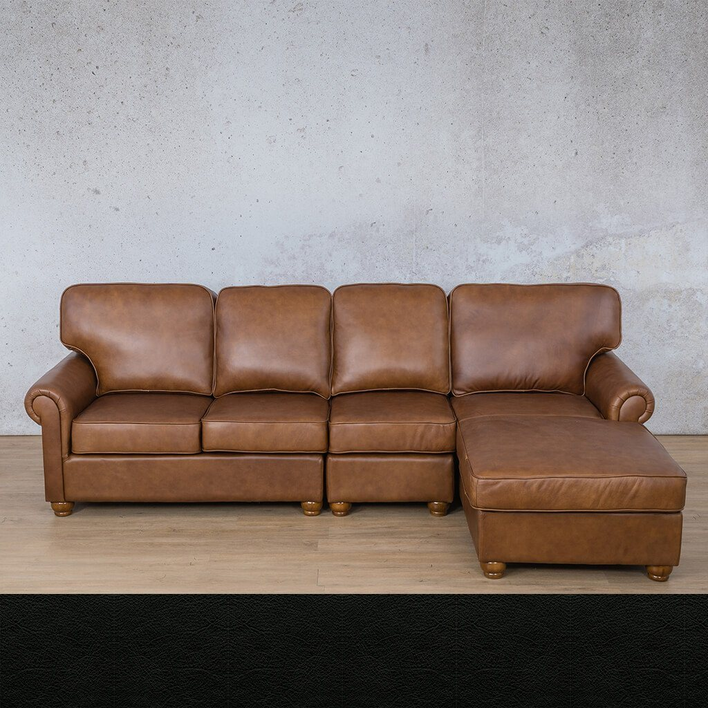 Salisbury Leather Sofa Chaise Modular Sectional - RHF