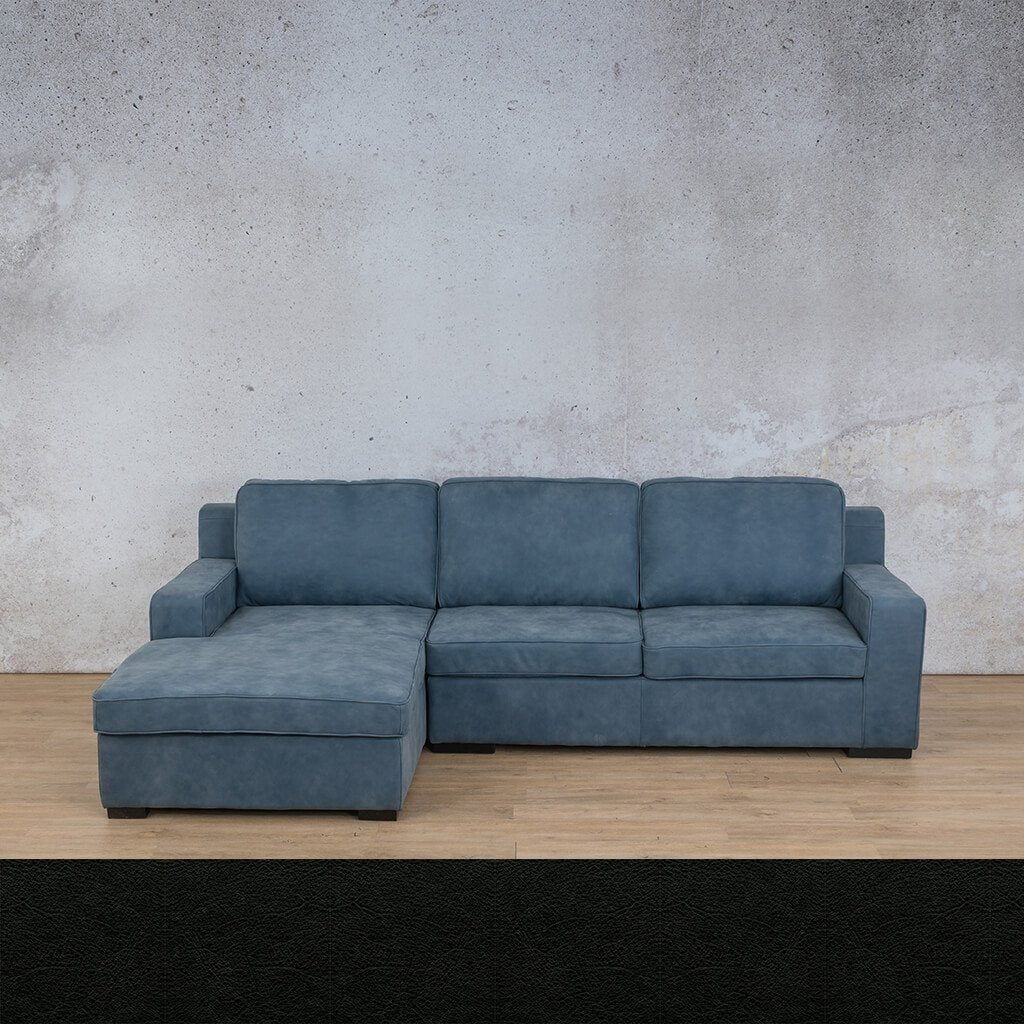 Arizona Leather Couch | Sofa Chaise LHF | Czar Black | Leather Gallery