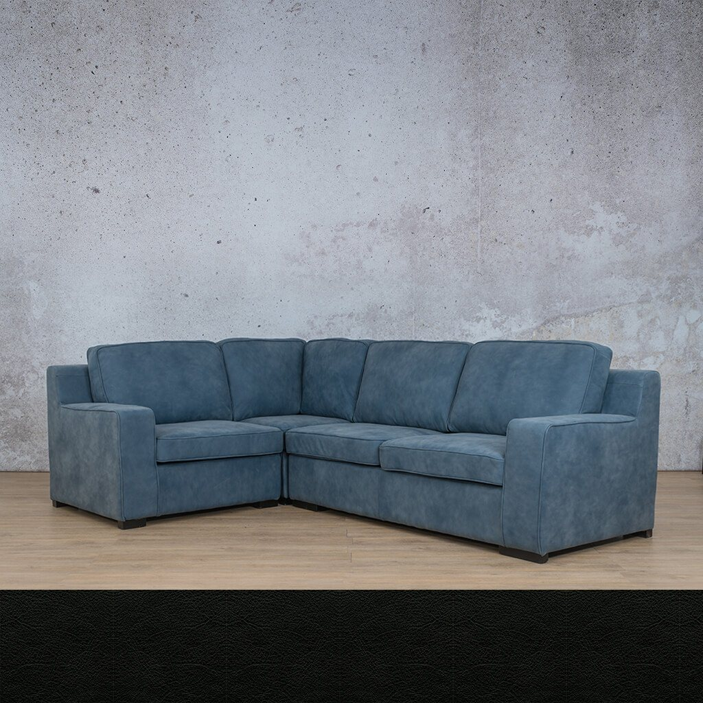 Arizona Leather Couch | L-Sectional 4 Seater | Czar Black | Leather Gallery