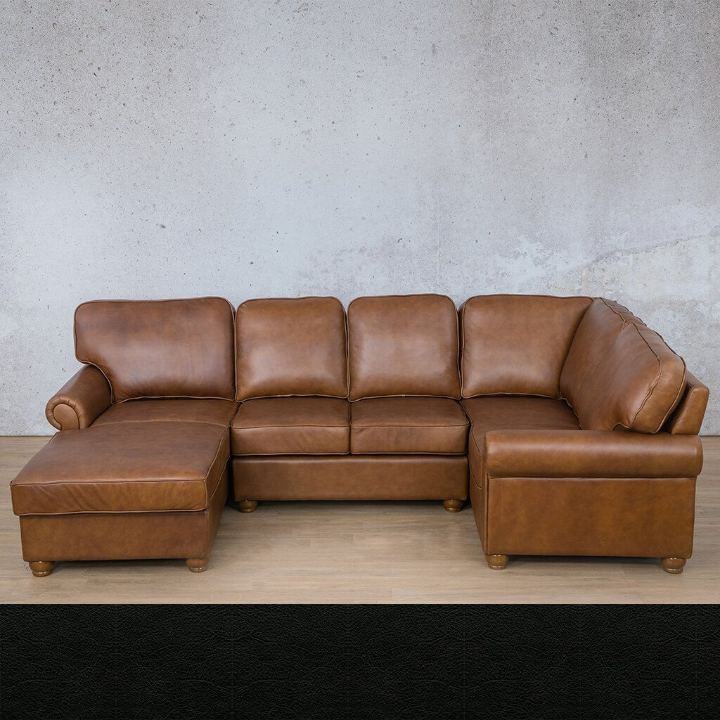 Salisbury Leather U-Sofa Chaise Sectional - LHF