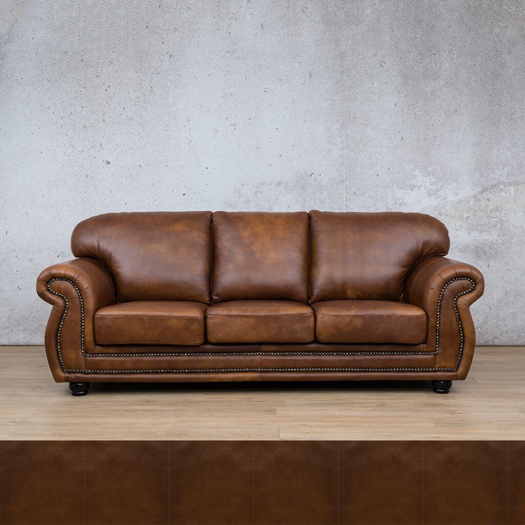 Isilo Leather Couch | 3 Seater Couch | Couches for Sale | Czar Pecan | Leather Gallery Couches