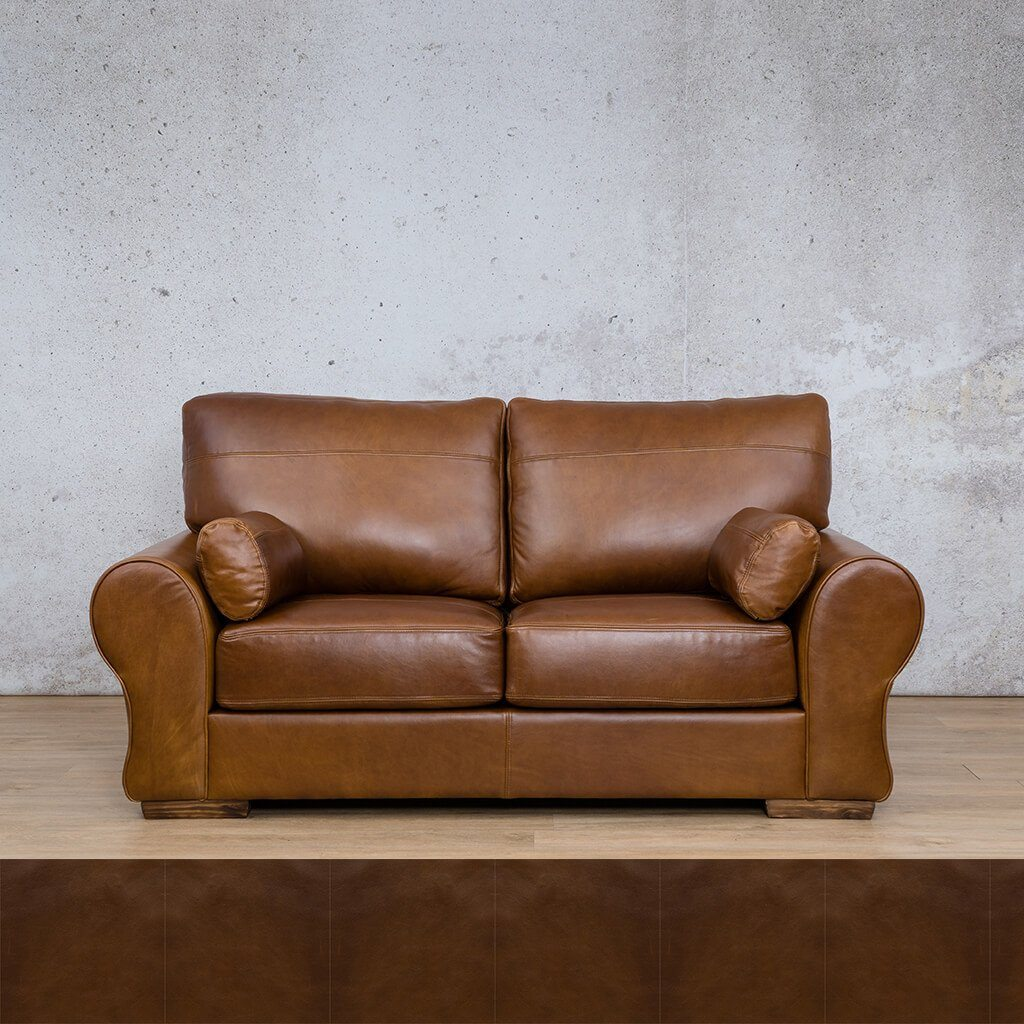 Carolina Leather Couch | 2 Seater Couch | Couches for Sale | Czar Pecan | Leather Gallery Couches
