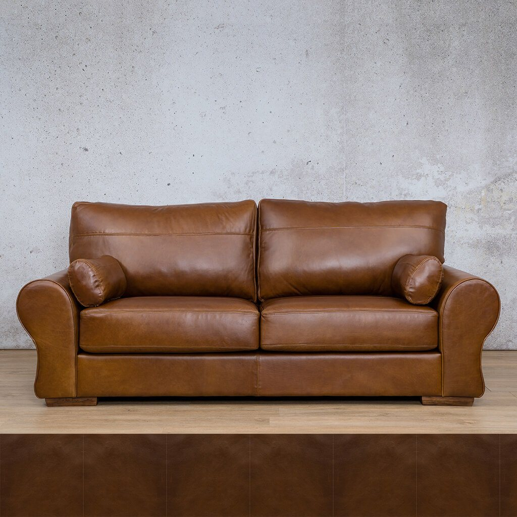 Carolina Leather Couch | 3 Seater Couch | Couches for Sale | Czar Pecan | Leather Gallery Couches