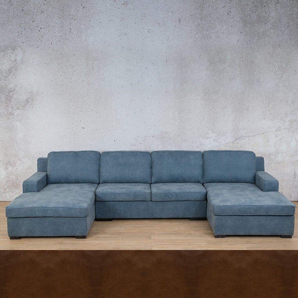 Arizona Leather Sofa U-Chaise Sectional