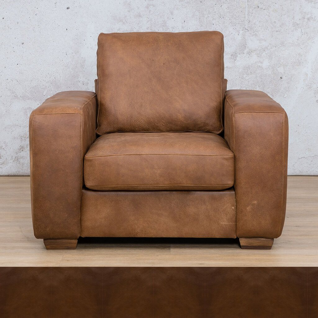 Stanford Leather Couch | 1 seater couch | Czar Pecan | Couches for Sale | Leather Gallery Couches
