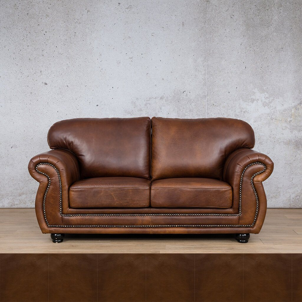 Isilo Leather Couch | 2 Seater Couch | Couches for Sale | Czar Pecan | Leather Gallery Couches
