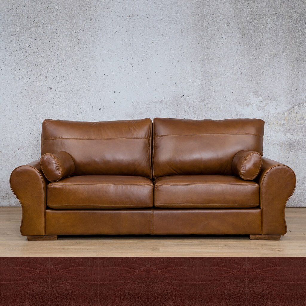 Carolina Leather Couch | 3 Seater | Czar Ox Blood | Leather Gallery