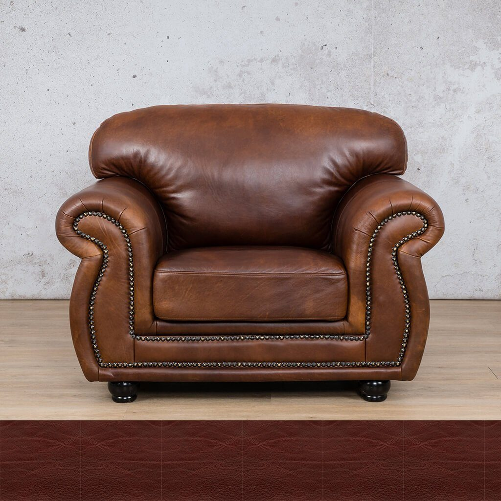 Isilo Leather Couch | 1 Seater Couch | Couches for Sale | Royal Ruby | Leather Gallery Couches