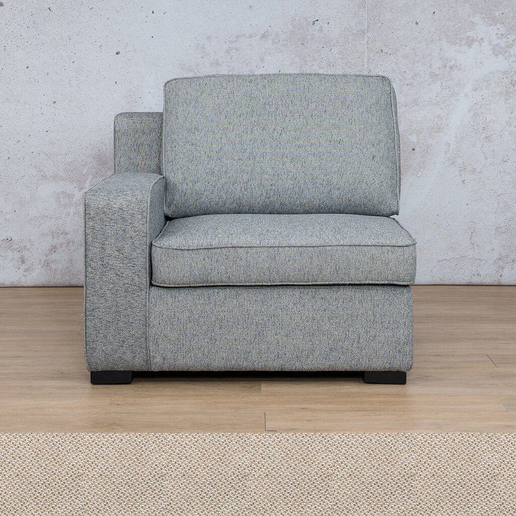Arizona Fabric | 1 Seater Right Arm | Pebble | Leather Gallery