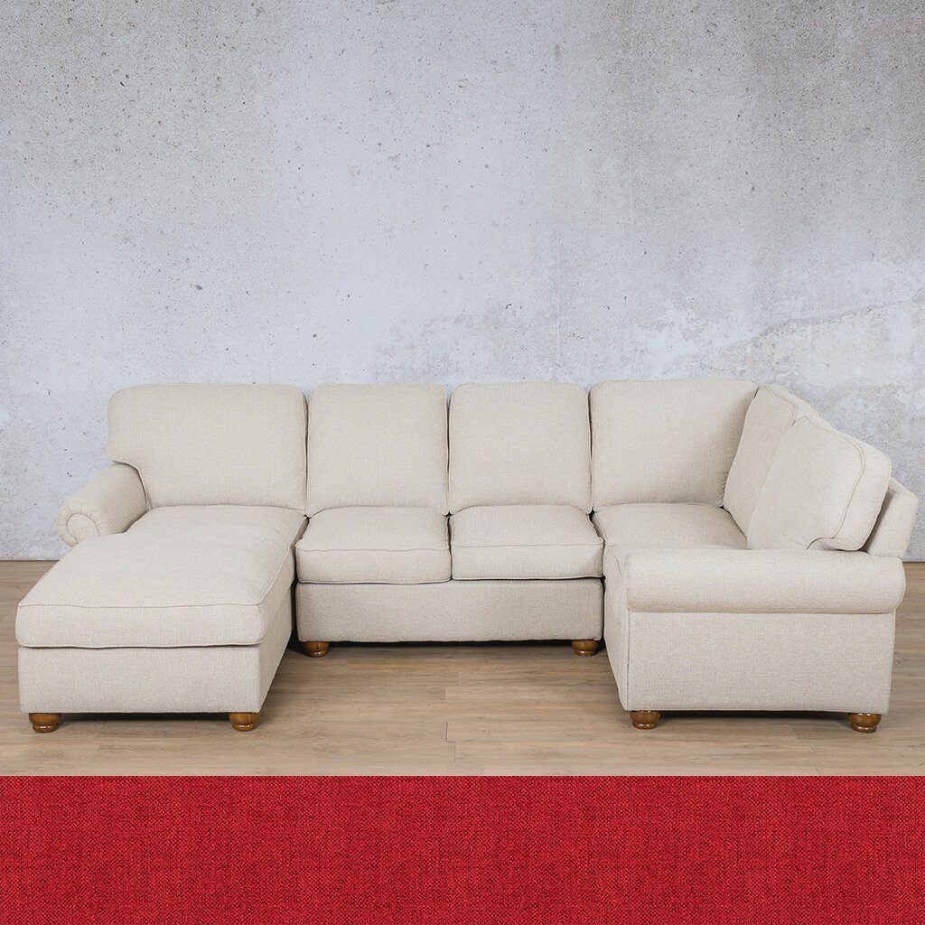 Salisbury Fabric Corner Couch | U-Sofa Chaise Sectional-LHF | Delicious Cherry | Couches For Sale | Leather Gallery Couches