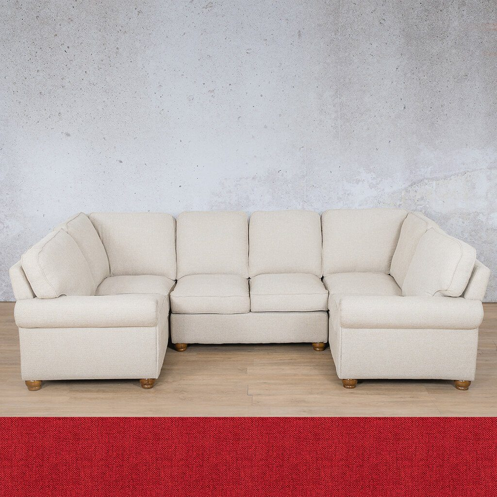 Salisbury Fabric Corner Couch | U-Sofa Sectional Couch | Delicious Cherry | Couches For Sale | Leather Gallery Couches
